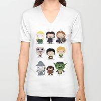 lotr V-neck T-shirts featuring LOTR by Maria Jose Da Luz