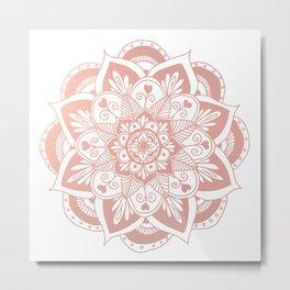 Flower Rose Gold Mandala Metal Print