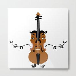 Violin, singing faces, original artwork Metal Print