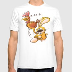 Easter Bunny Stealing an Egg from a Hen MEDIUM Mens Fitted Tee White