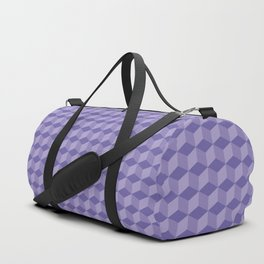 3D Optical Illusion: Purple Cube Pattern Duffle Bag