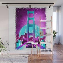 Vaporwave Aesthetic California Golden Gate Bridge Wall Mural