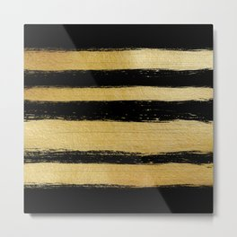 Black gold faux leaf modern brushstrokes stripes Metal Print