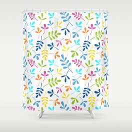 Multicolored Assorted Leaf Silhouette Pattern Shower Curtain