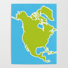 North America Map Green continent on blue background. Vector illustration Poster