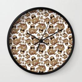 Lazy Cute Sloth Seamless Pattern Wall Clock