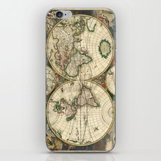 Old map of world hemispheres. Created by Frederick De Wit, 1668 iPhone & iPod Skin