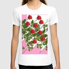 RED LONG STEMMED ROSES & PINK COLOR T-shirt