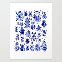 Blue Mark Making Collage Bugs and Beetles Art Print