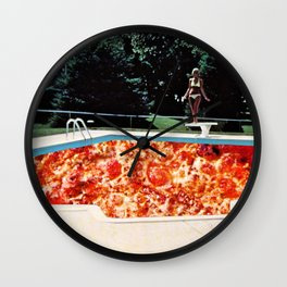 Pizza Pool Party Collage Wall Clock