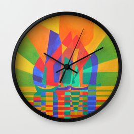 Dreamboat - Cubist Junk In Primary Colors Wall Clock
