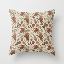 Antique Floral Pattern Throw Pillow