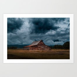 Log Cabin Barn Rural Landscape Art Print