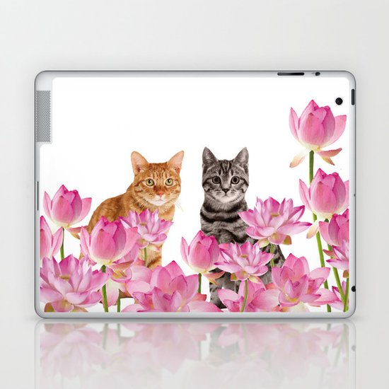 Red and Tiger cat in Lotos Flower Field by move-art