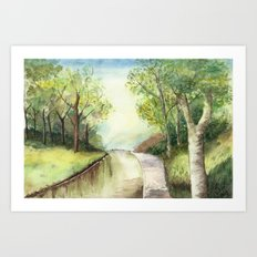 Trees by the canal Art Print