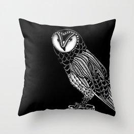 Tangled Barn Owl on Black Throw Pillow