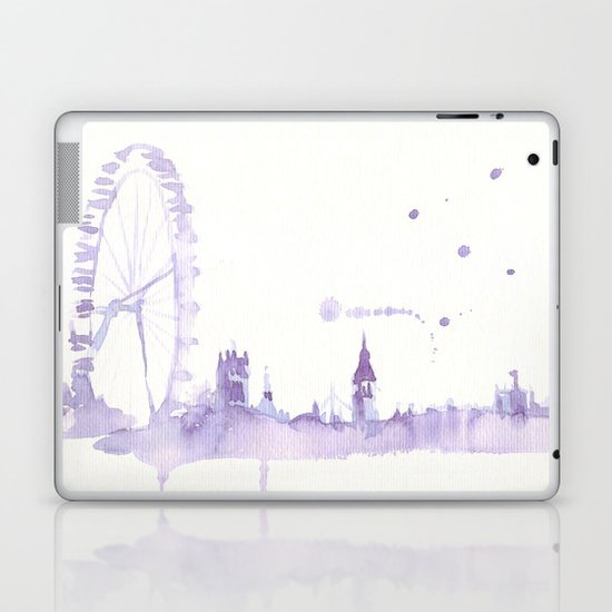 Watercolor landscape illustration_London Eye Laptop & iPad Skin
