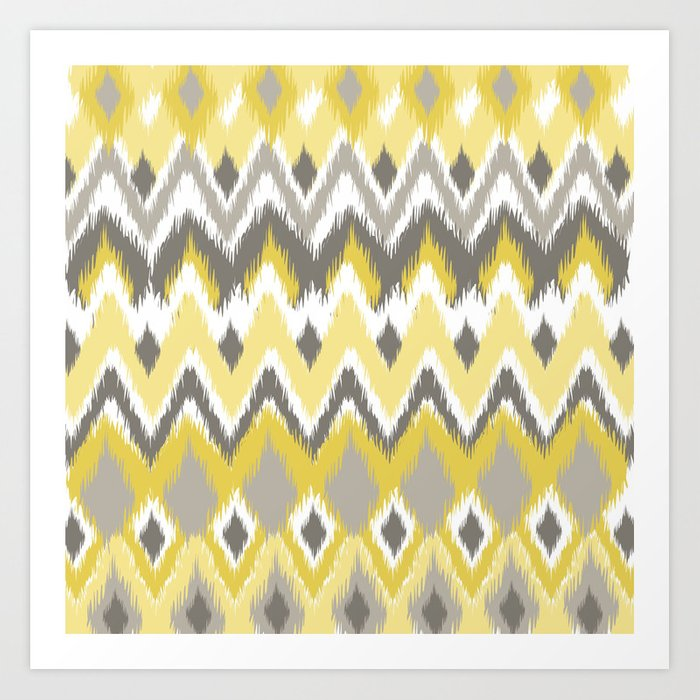 Aztec Tribal Yellow Gray iKat Inspired Pattern Design Art Print by ...