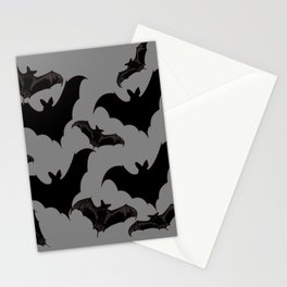 HALLOWEEN BATS ON CHARCOAL GREY WILDLIFE ART Stationery Cards