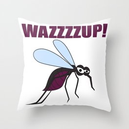 Mosquito Wazzup Insect Comic Saying Funny Blood Sucker Gift idea Throw Pillow