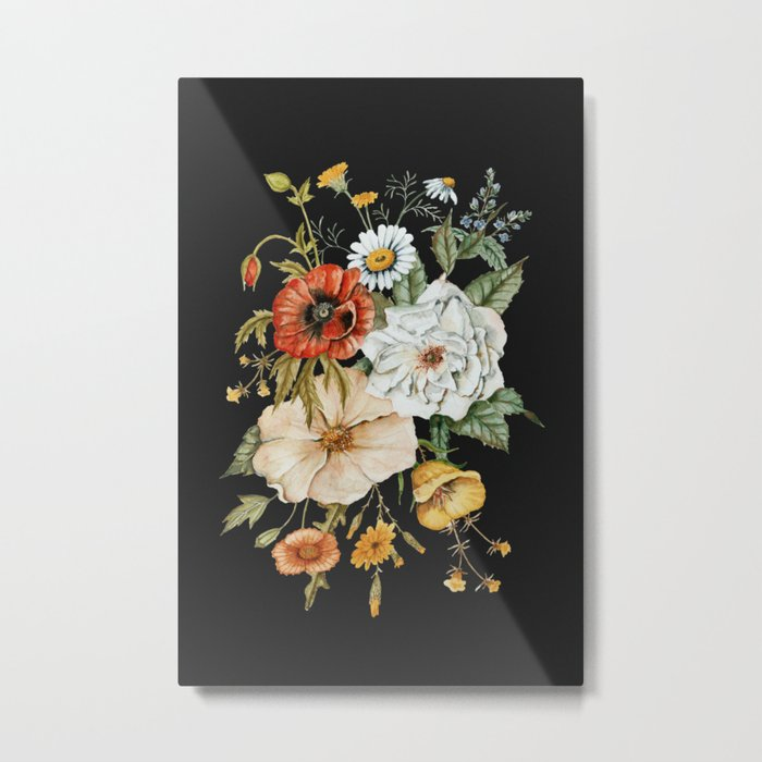 Wildflower Bouquet on Charcoal Metal Print