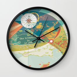 Adventure Map, The Treasure is in You Wall Clock