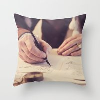 writing Throw Pillows featuring hand writing by Zsolt Kudar