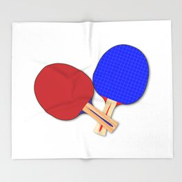 Two Table Tennis Bats Throw Blanket