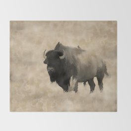 American Buffalo  -  Plains Bison Throw Blanket