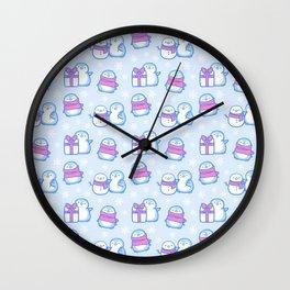 Winter Penguins // Blue Wall Clock