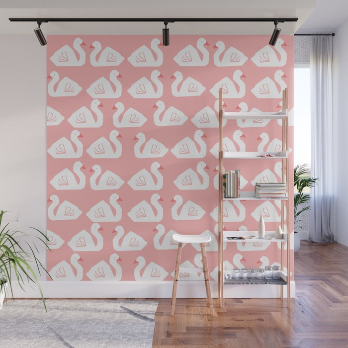 Swan Minimal Pattern Print Pink And White Bird Ilration Swans Nursery Decor Wall Mural