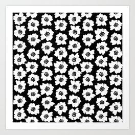 Linocut botanical nature floral flower art nursery black and white decor newborn Art Print