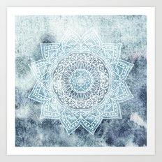 DEEP BLUE MANDALA Art Print