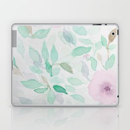 Pink and Mint Flowery Watercolor design Laptop & iPad Skin