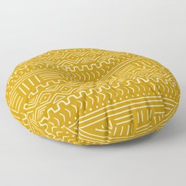 Mud Cloth on Mustard Floor Pillow