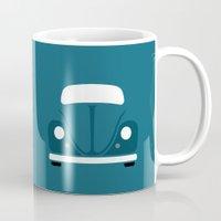 volkswagen Mugs featuring Volkswagen Beetle by Nick Steen