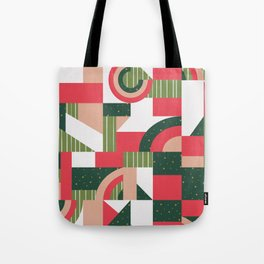 Traditional Xmas Quilt #socety6 #pattern Tote Bag