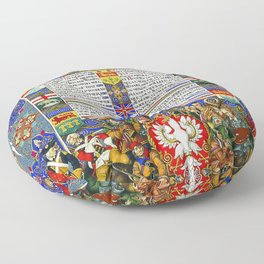 12,000pixel-500dpi - Arthur Szyk - Love for Man and Nature - Digital Remastered Edition Floor Pillow