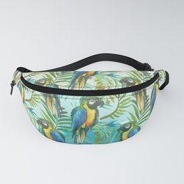 Watercolor blue yellow tropical parrot bird floral Fanny Pack