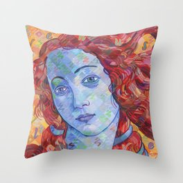 Variations On Botticelli's Venus - No. 3 (Primary Colors) Throw Pillow