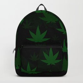 Patron with cannabis present shapes on a black background. Backpack