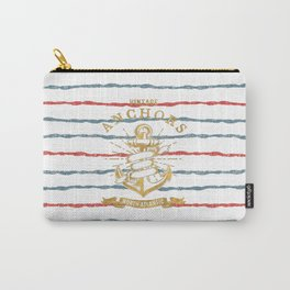 Maritime Design- Nautic Vintage Anchor on stripes in blue and red Carry-All Pouch