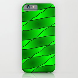Slanting iridescent lines and rhombuses on green with intersection of glare. iPhone Case