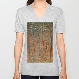 Gustav Klimt's Beech Forest Buchenwald I Unisex V-Neck