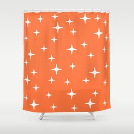 Mid Century Modern Star Pattern 443 Orange Shower Curtain