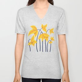 Abstract Flowers Geometric Art In Vibrant Coral And Yellow Unisex V-Neck