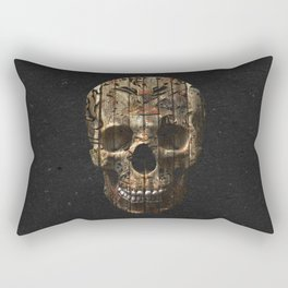 Vintage American Tattoo Skull Wood Stripes Texture Rectangular Pillow