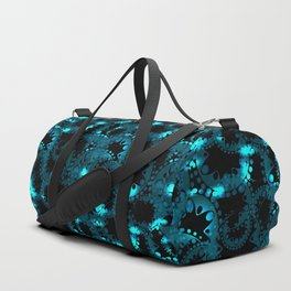 blue pattern of soap bubbles and gears in azure Duffle Bag