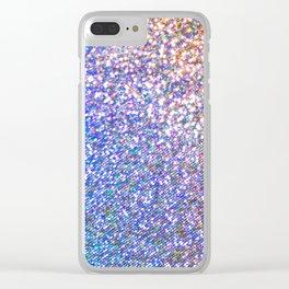 Purple Ombre Glitter Clear iPhone Case