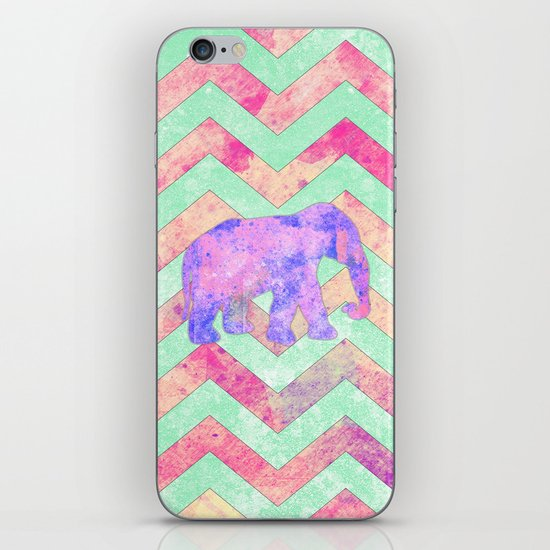 Whimsical Purple Elephant Mint Green Pink Chevron iPhone & iPod Skin